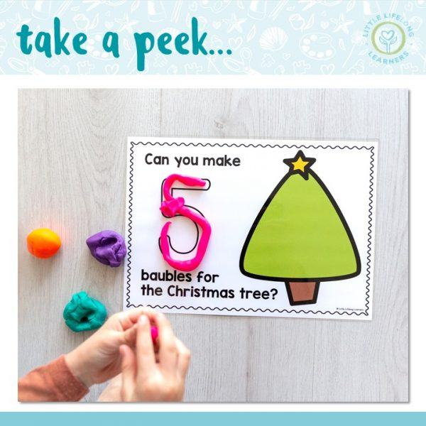 Christmas tree counting mats for play dough | Numbers from 1 to 20 | Review numerals, numbers and one-to-one correspondance for toddlers, preschool, kindergarten and foundation students | Printables for Australian teachers | End of year Christmas activities |