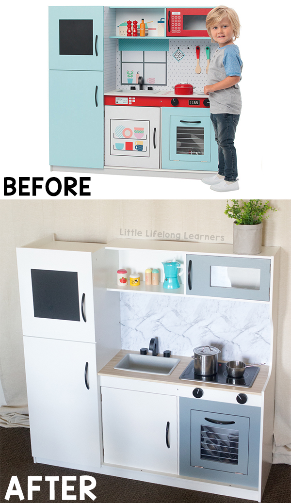Kmart kitchen hack | kids play kitchen reno | DIY play kitchen ideas | toy kitchen storage ideas | Toddler, preschooler and kindergarten play ideas | Role-play and dramatic play ideas | play room and toy room ideas |