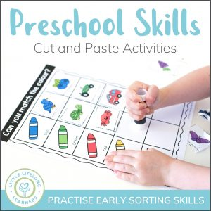 Preschool sorting skills - cut and paste activities for toddlers, preschool and kindergarten | Totschool learning activity | Cutting skills | Review colours, numbers, shapes, letters, animals and more! | Use as literacy and numeracy centres or for revising concepts | Australian curriculum | Printables for preparing child for school |