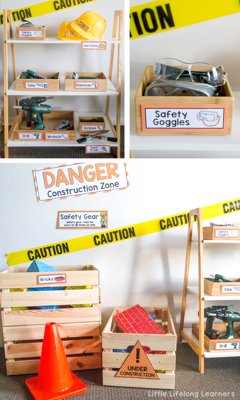 Set up a construction site in your dramatic play and imaginative play space | construction site party | construction site dramatic play printables | Imaginative play ideas for toddlers, preschoolers and kindergarten children | Posters, signs, labels and printables | Role play in the early years classroom | Australian teachers and parents | Play-based, age appropriate pedagogies |