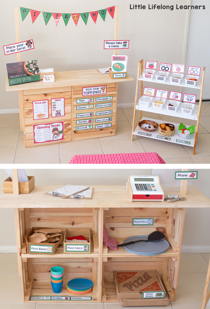 Set up a pizza shop in your dramatic play and imaginative play space | pizza party ideas | pizza dramatic play printables | Imaginative play ideas for toddlers, preschoolers and kindergarten children | Posters, signs, labels and printables | Role play in the early years classroom | Australian teachers and parents | Play-based, age appropriate pedagogies | Printables for Prep and Foundation |