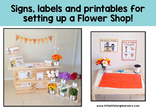 Flower shop or florist dramatic play center | set up a flower shop in your role-play area | Posters, signs, labels and printables | imaginative play ideas for Prep, Foundation, Kindergarten, Preschool and homeschool | early reading and writing | printables for Australian teachers | early years classroom | play-based, age-appropriate pedagogies | play ideas for toddlers and kindy kids |