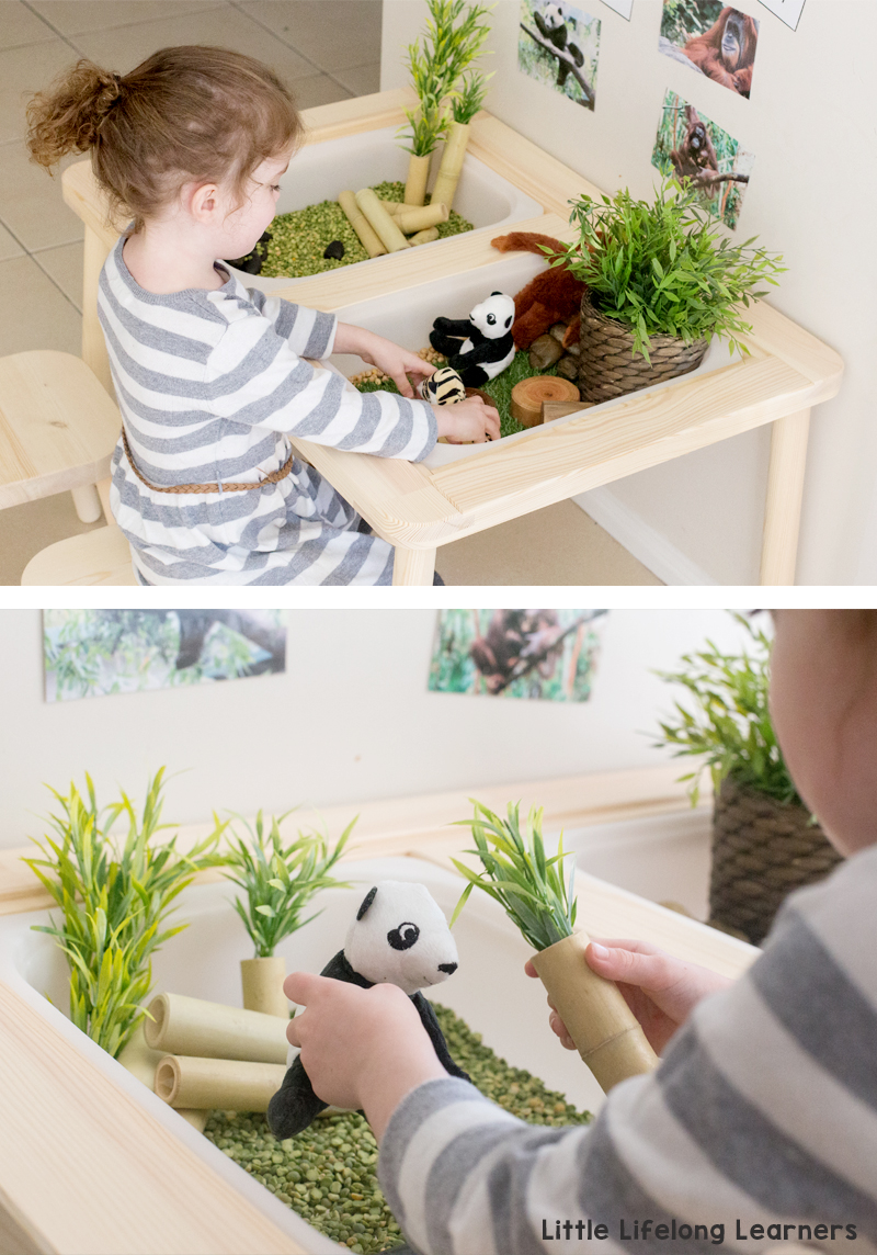 IKEA FLISAT sensory table | Sensory play tub ideas for toddlers and preschoolers | play ideas for the early years | IKEA in the home and classroom | IKEA hacks | Endangered animals DJUNGELSKOG range |
