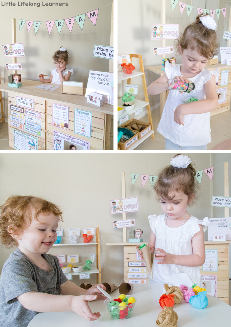 Set up an ice cream shop in your dramatic play space! Find ideas for setting up a gorgeous ice-cream store in your home corner and imaginative play area. Find ideas for making ice cream from tissue paper and other fun printables for signs, labels and order forms!