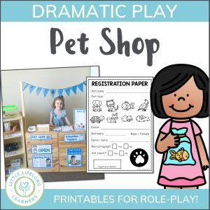 Set up a Pet Shop in your dramatic play space! Includes all of the printable signs and labels you need to set up an inviting imaginative play area for your toddler, preschoolers and kindergarten kids!