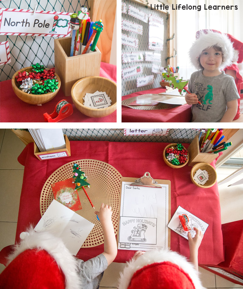 Set up a Christmas themed Dramatic Play area in your home or classroom. Perfect for role-playing Santa's Workshop with your preschool, kindergarten and toddlers! Includes 7 different stations - letter writing, gingerbread play dough, wrapping presents, decorating the tree, wishlist making and more! Includes all of the printables you need for this festive season!