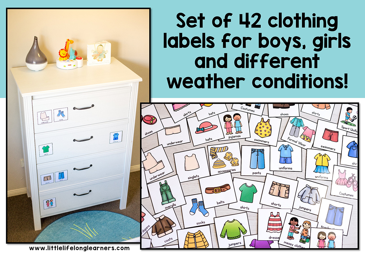 Kids Clothing Drawer Labels Little Lifelong Learners