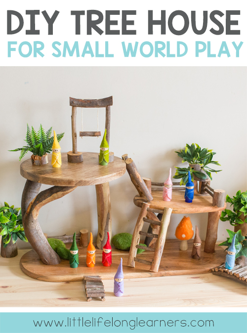Read how we made our DIY tree house for small world play featuring DIY fairy furniture, fences, trees, bridges and ladders! Perfect for Waldorf, Reggio inspired play using chopping boards and cutting boards from Kmart and IKEA. Play hacks for children!