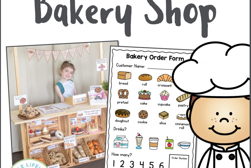 Set up your bakery dramatic play space with these fun printables for home corner! Featuring signs, labels, order forms, dough recipe cards and more! Your preschool kids and toddlers will love this role play pack! Find props at the dollar stores and ideas for pretend food and easy DIY activities! Includes both a reggio inspired hessian pack!