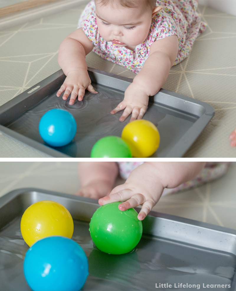 Baby play ideas at 5 months old. Find ideas for your baby play area featuring simple DIY infant sensory play ideas and ideas for tummy time! Play gyms are a great tool for 5 month and 6 month baby play! Easy activities to do at home with your baby.