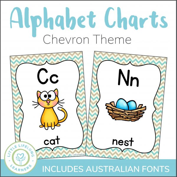 Your little learners will love learning the letters of the alphabet with these fun alphabet printables! Featuring both long and short vowel sounds, these posters will brighten up any learning space. and alphabet activities! Perfect for preschool, Kindergarten and Prep and includes all Australian School Fonts!