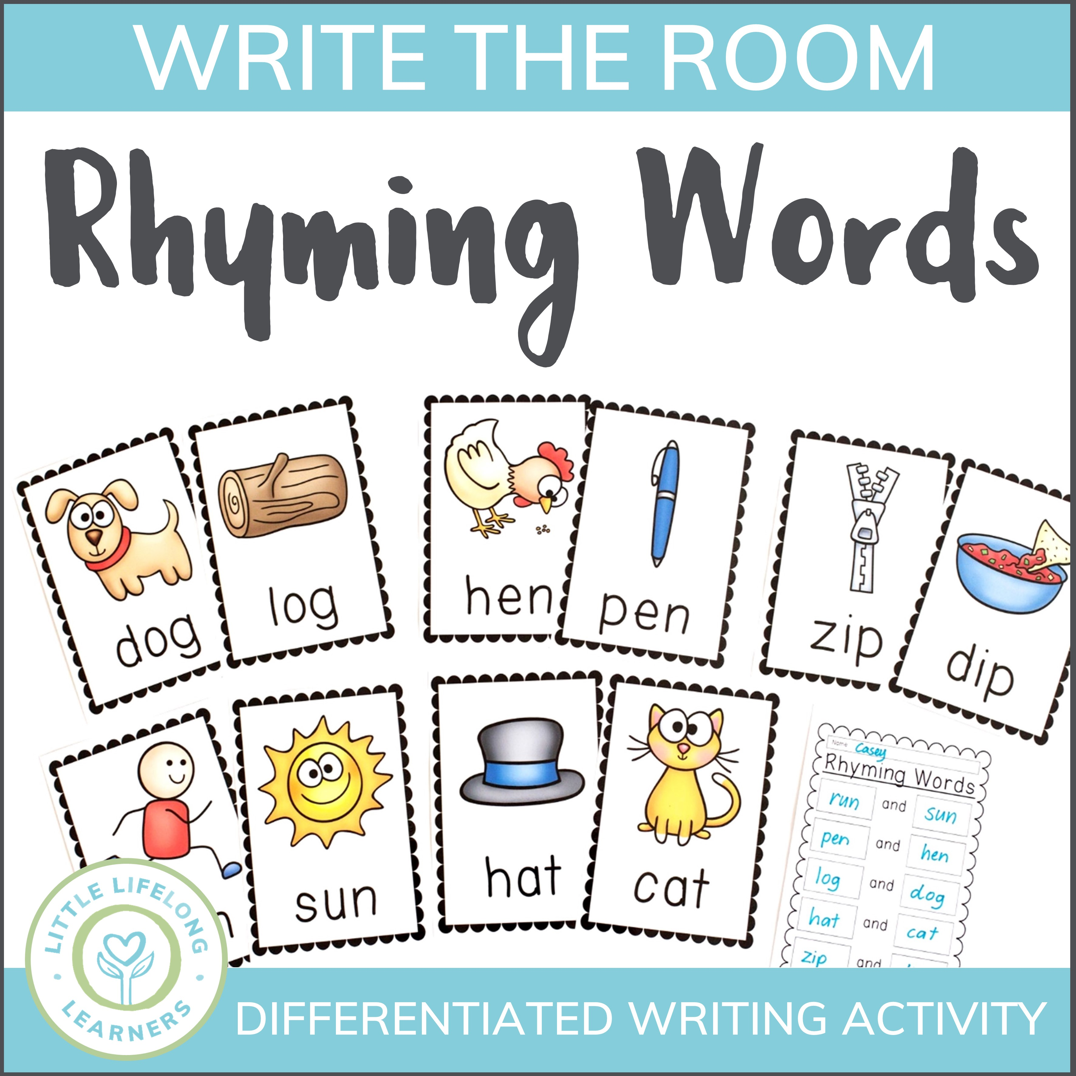 Rhyming Word Activity - Write the Room
