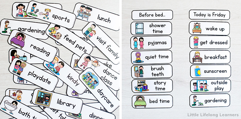 Learn how to use a daily routine chart for kids with these customizable visual schedule printables. Perfect for toddlers, preschool, school kids and children with addition needs like ADHD or autism. Having picture cues encourage independence and responsibilities. Also includes an editable powerpoint to create your own cards. Totally customizable to your own family needs.