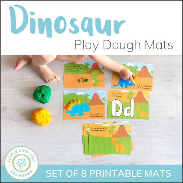 Dinosaur play dough mats for toddlers, preschool and tot school. These activities for kids are perfect for your dinosaur theme or party! Practice simple numeracy concepts like counting, size and even learning letter knowledge for the letter D!