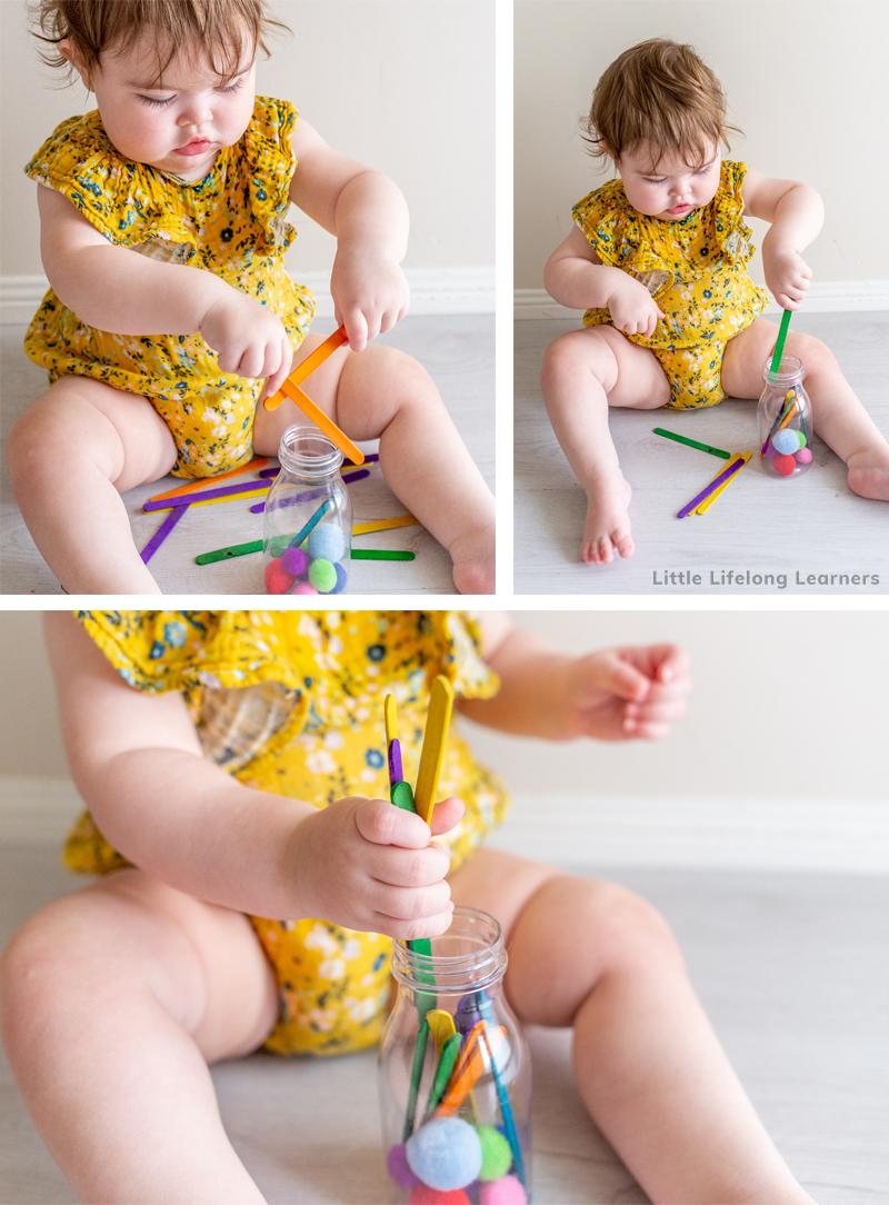 Easy play ideas for 12 month old babies! Find simple baby play ideas for your baby at 12 months or 1 year old. Sensory play is an easy way to play and learn with your babies! Includes ideas for fine motor skills, side stepping, problem solving and transferring. Lots of DIY play ideas for your baby at 11 months old, 12 month old and 1 year old baby play time!