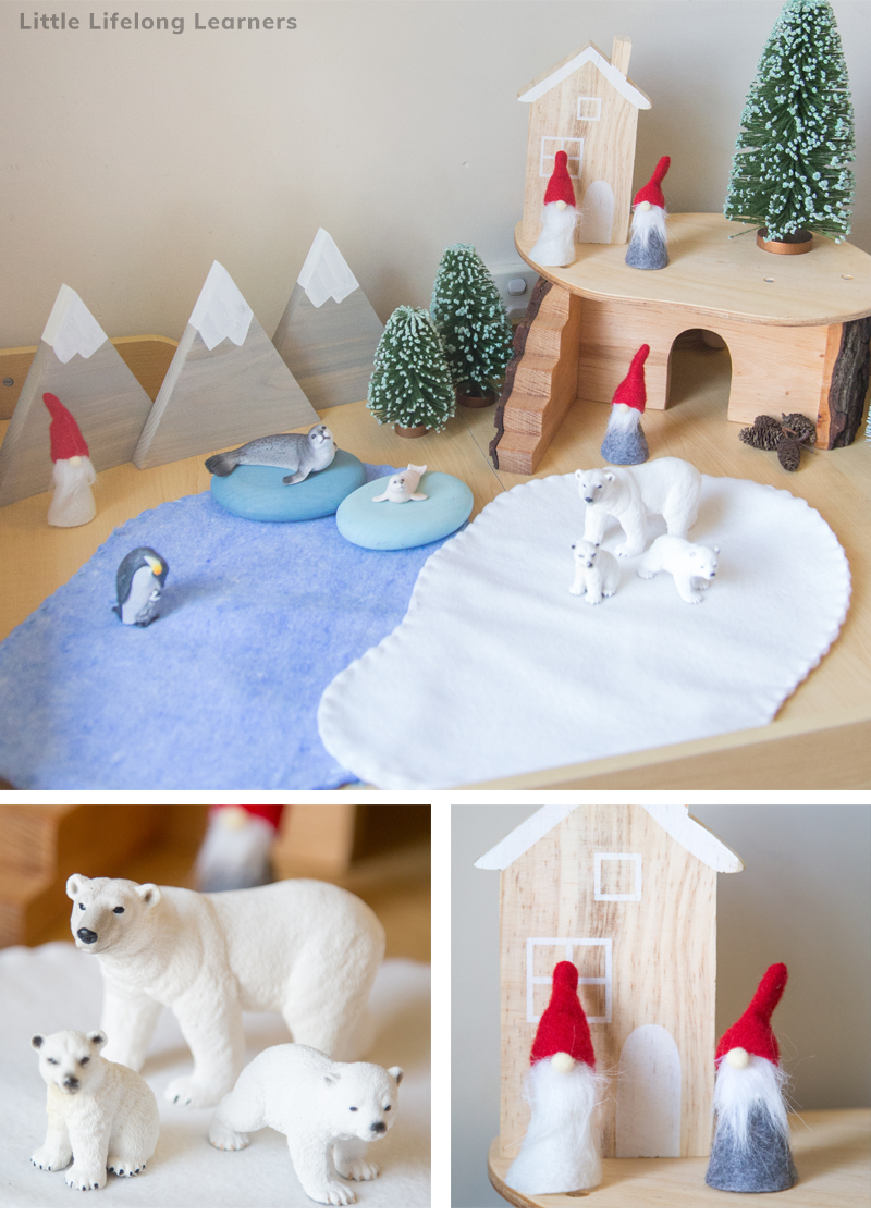 These Christmas small world play ideas will be much loved by your children this Christmas! See how we set up different small worlds for our toddlers, preschool kids and children. Featuring sensory play ideas and props for imaginative play this festive season.